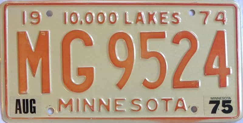 1975 MN (Single) license plate for sale