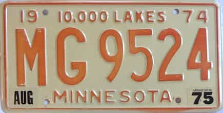 1975 Minnesota (Single) license plate for sale