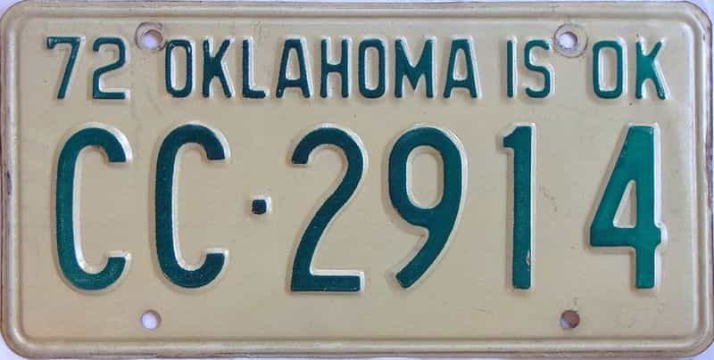 1972 OK license plate for sale