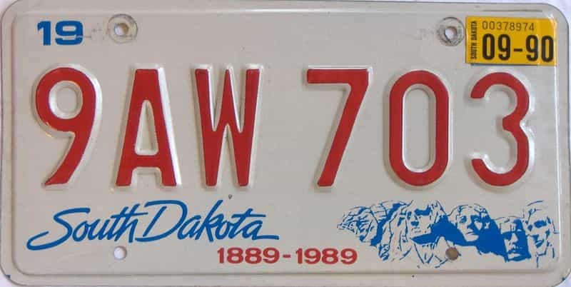 1990 South Dakota  (Single) license plate for sale