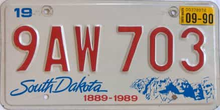 1990 South Dakota (Single) license plate for sale