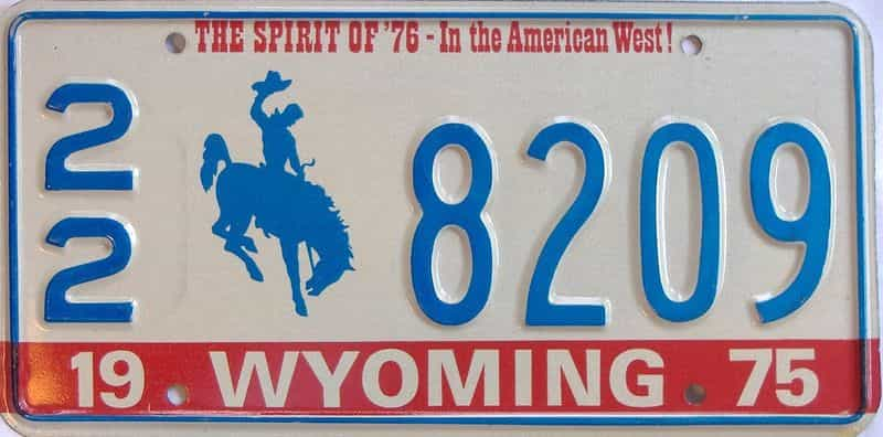 1975 WY (Single) license plate for sale