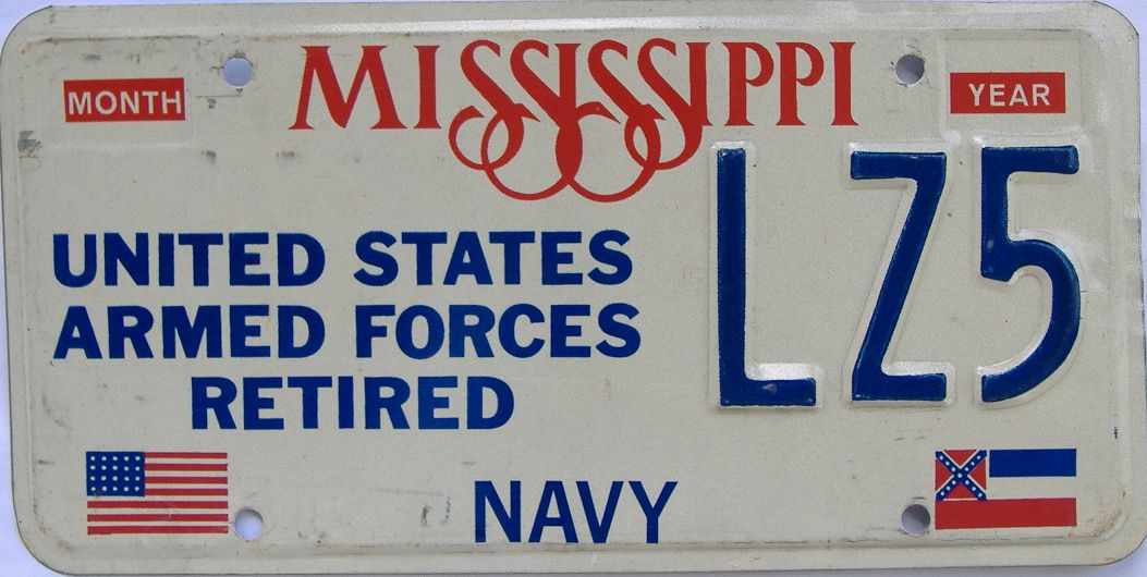 MS (Military) license plate for sale