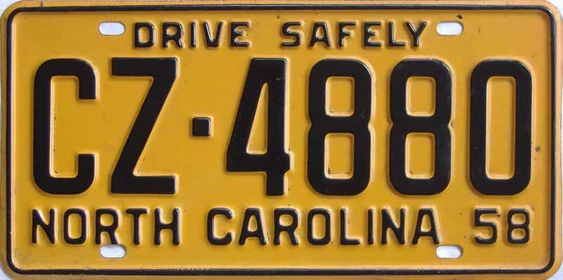 1958 NC license plate for sale