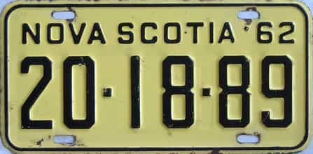 1962 Nova Scotia (Single) license plate for sale