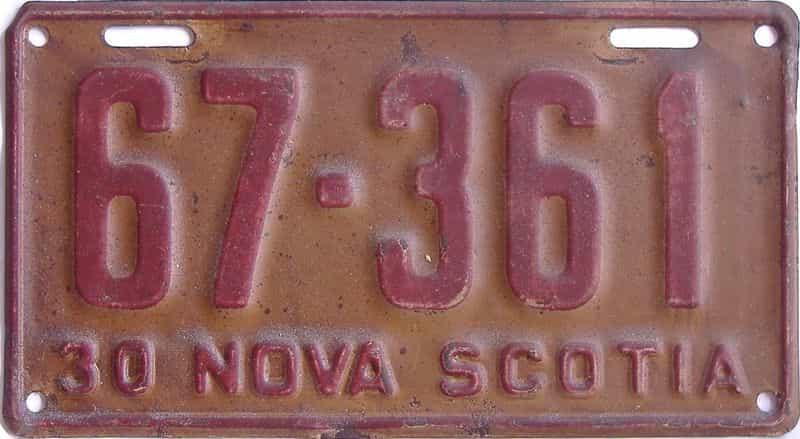 1930 Nova Scotia (Single) license plate for sale