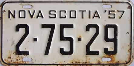 1957 Nova Scotia (Single) license plate for sale
