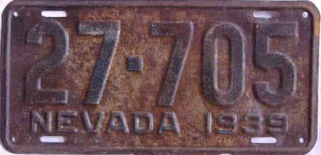 1939 Nevada (Single) license plate for sale