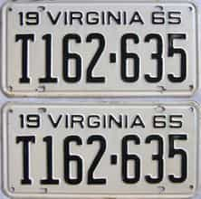 1965 Virginia (Pair) license plate for sale