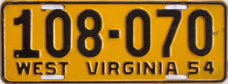 1954 WV license plate for sale
