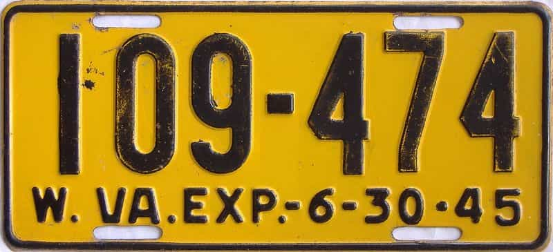1945 West Virginia license plate for sale
