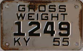 1955 Kentucky (Non Passenger) license plate for sale