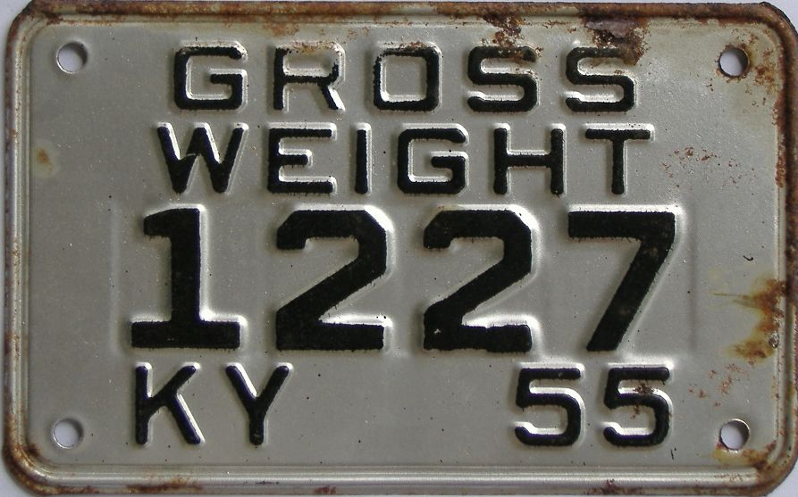 1955 Kentucky (Non Passenger) license plate for sale