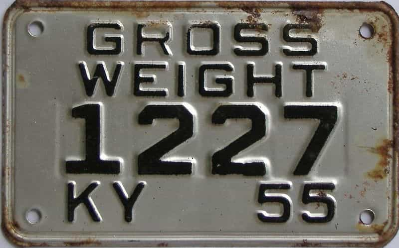 1955 KY (Non Passenger) license plate for sale