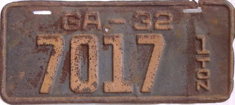 YOM 1932 GA (Truck) license plate for sale