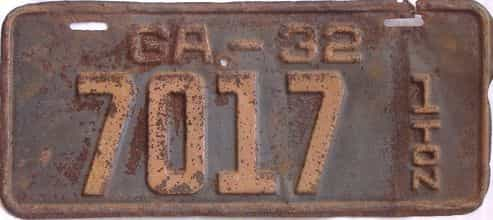 YOM 1932 Georgia (Truck) license plate for sale