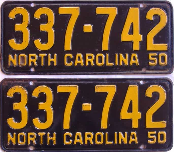 1950 North Carolina (Pair) license plate for sale