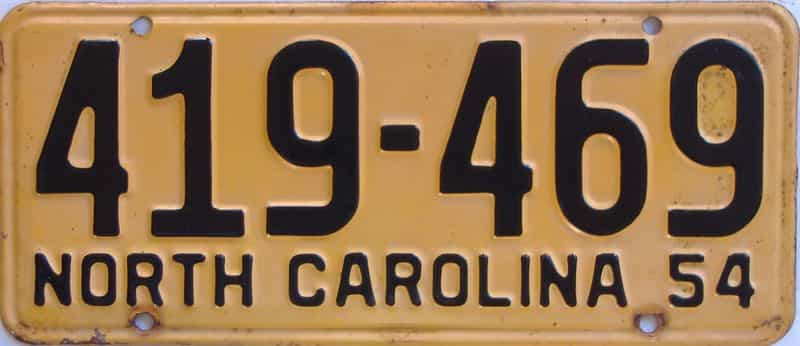 1954 NC license plate for sale