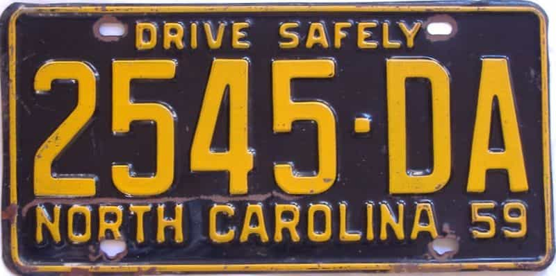 1959 NC (Truck) license plate for sale