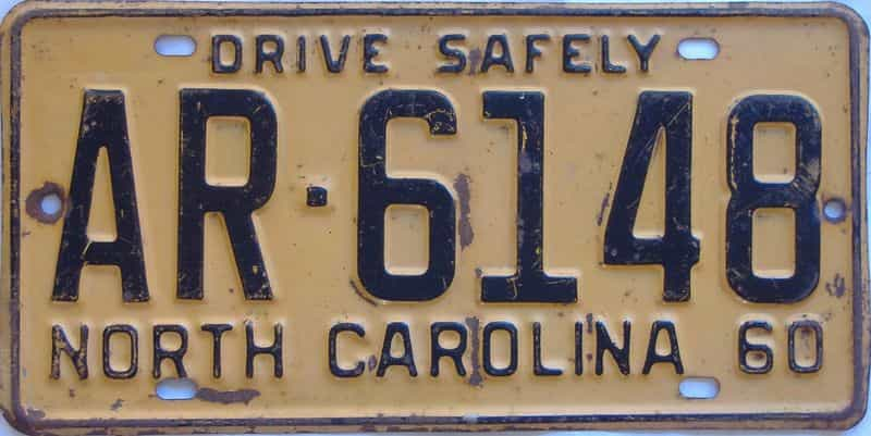 1960 NC license plate for sale