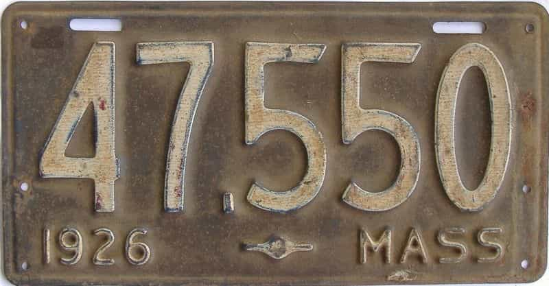 1926 MA (Single) license plate for sale