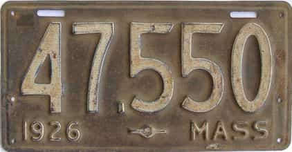 1926 Massachusetts (Single) license plate for sale