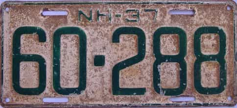 1937 New Hampshire (Single) license plate for sale