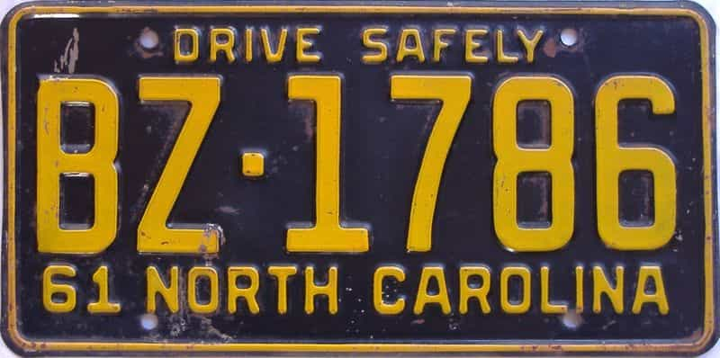1961 NC license plate for sale