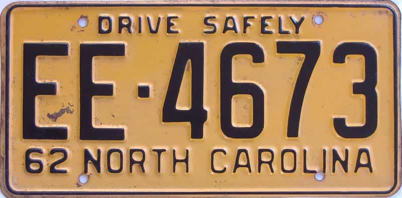 1962 NC license plate for sale