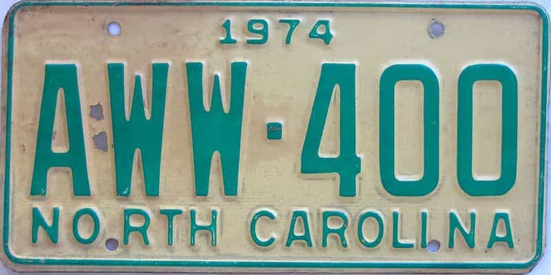 1974 North Carolina license plate for sale
