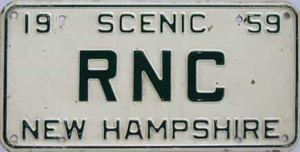 1959 New Hampshire (Vanity) license plate for sale