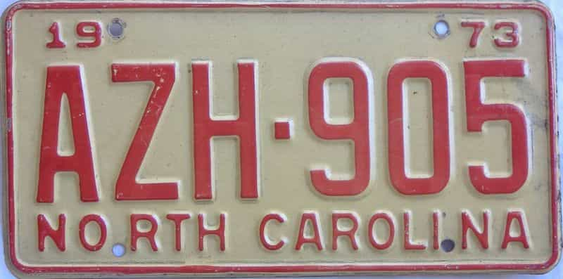 1973 NC license plate for sale