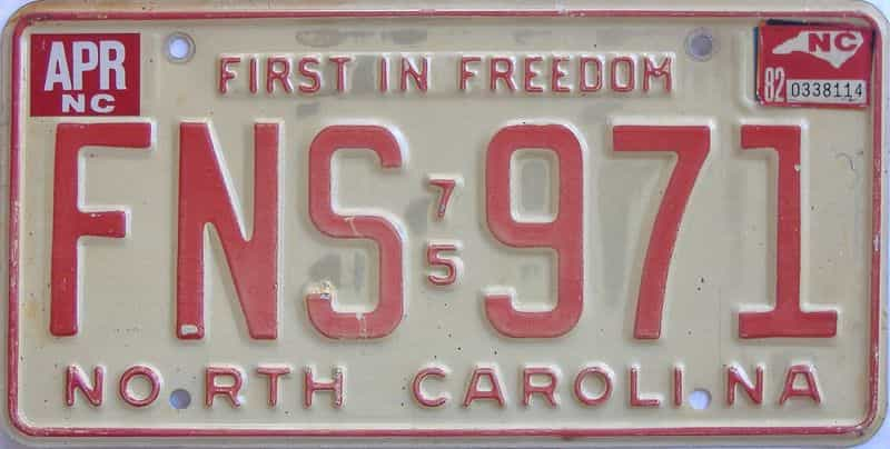 1982 North Carolina license plate for sale