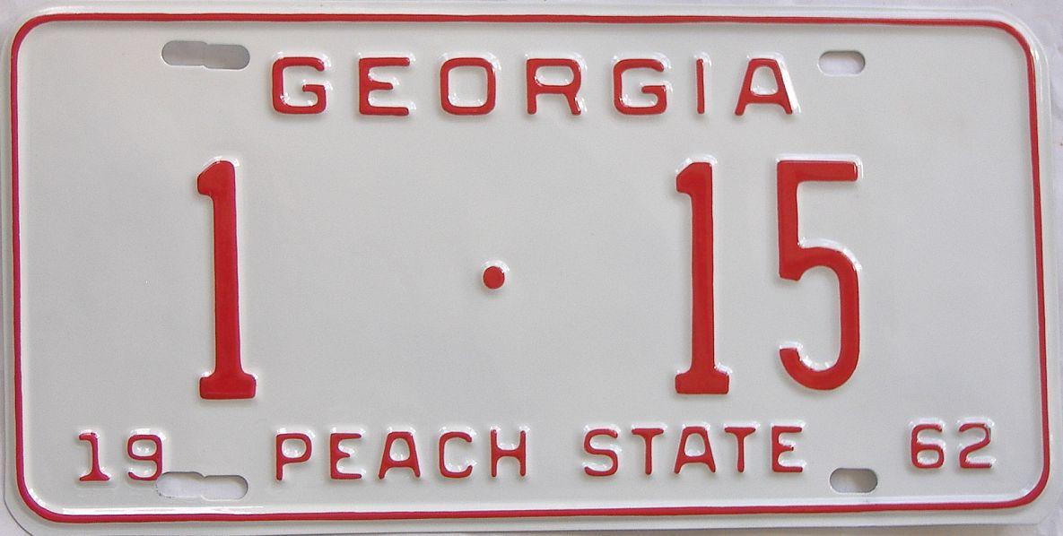 YOM RESTORED 1962 Georgia license plate for sale