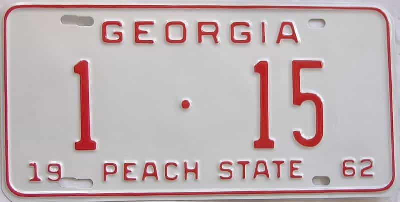 YOM RESTORED 1962 Georgia license plate for sale