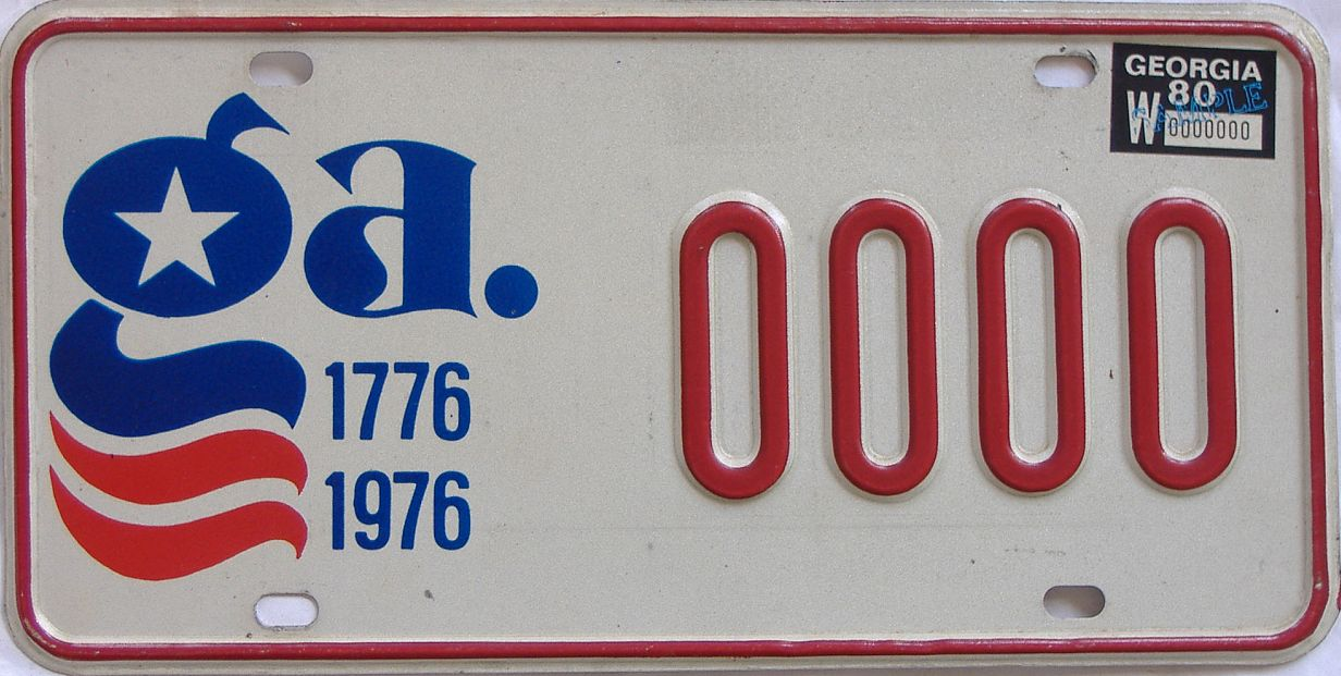 1980 Georgia (Sample) license plate for sale