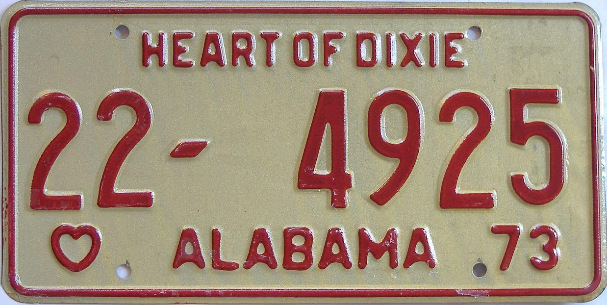 1973 Alabama license plate for sale