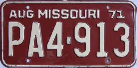 1971 Missouri license plate for sale