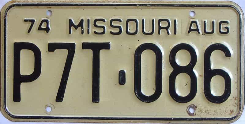 1974 Missouri (Single) license plate for sale