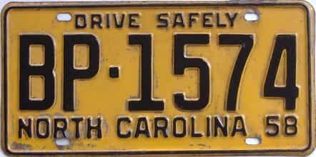 1958 North Carolina license plate for sale