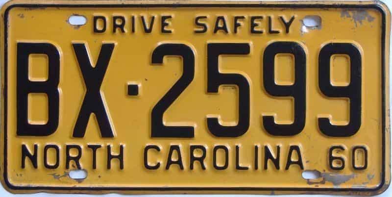 1960 North Carolina license plate for sale