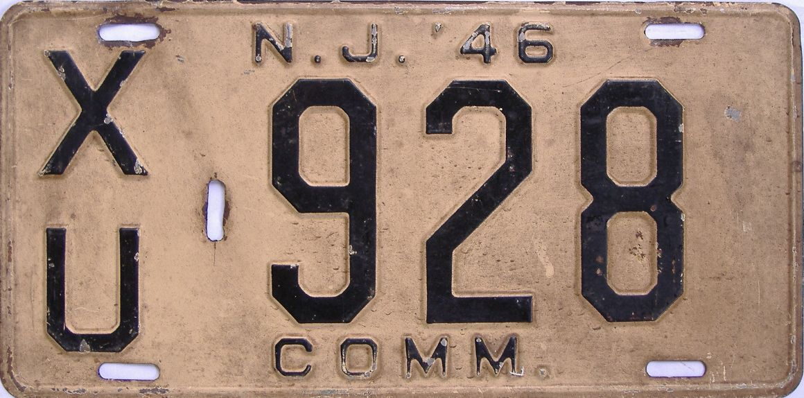 1946 New Jersey (Non Pass) license plate for sale