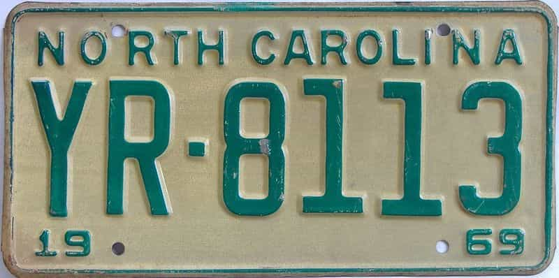 1969 North Carolina license plate for sale