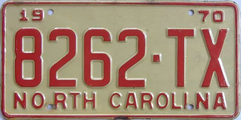 1970 NC (Truck) license plate for sale