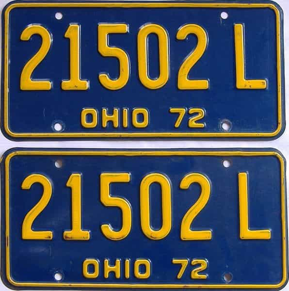 1972 OH (Pair) license plate for sale