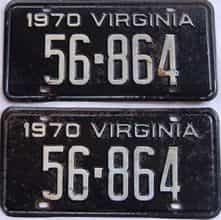 1970 Virginia (Pair) license plate for sale