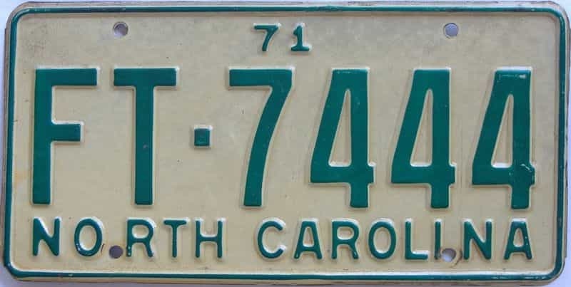 1971 NC license plate for sale