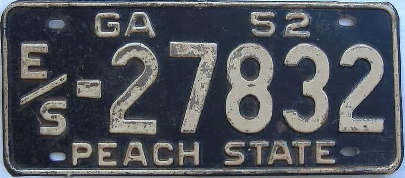 YOM 1952 GA license plate for sale
