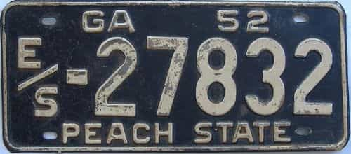 YOM 1952 Georgia license plate for sale