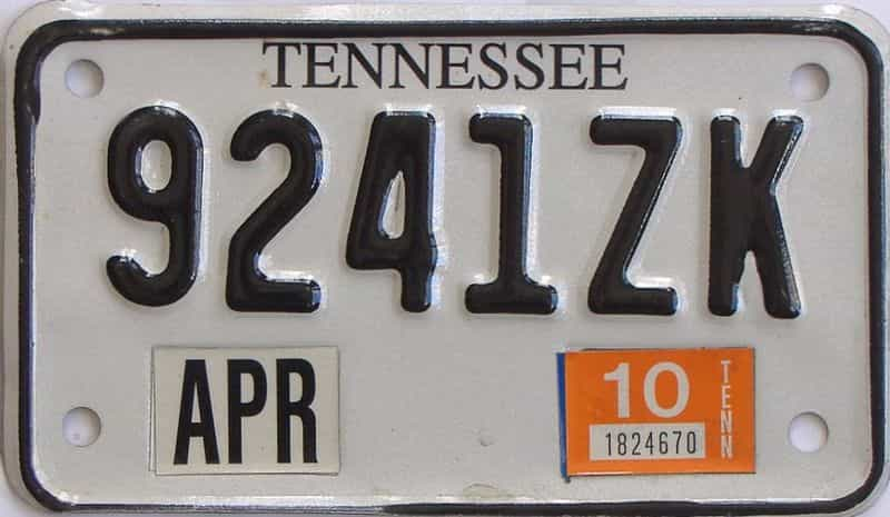 2010 Tennessee (Motorcycle) license plate for sale